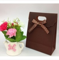 12 PCS Brown solid color bowknot clamshell bag 16.5 * 12.5 * 6 cm tea bags for packaging christmas packaging