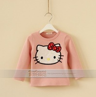 High quality girls hello kitty fleece t-shirts kids cartoon warm Autumn tees tops children's long sleeve t shirt wholesale