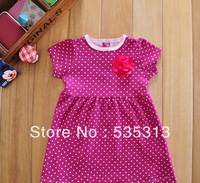 brand style baby girl dot printing dress 6M-2years baby girl wearing girl short sleeve dress full cotton baby clothing