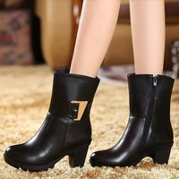 2013 RED DRAGONFLY winter genuine leather wool female cotton-padded shoes fashion high heel boots thick thermal