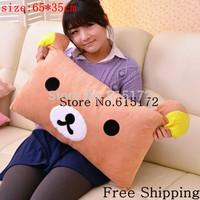 Free Shipping 1pcs 65*35cm rectangular cartoon animal print kawaii bear cushion rilakkuma long pillow for bedroom decoration HOT