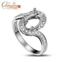 6x9mm Oval 14k White Gold Full Cut Diamonds Engagement Semi Mount Ring Settings