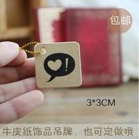 Free shipping wholesale kraft paper heart printed hang tag tags DIY blank tags labels 3*3cm