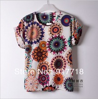 Wholesale 2013 New Fashion Styles Women's T Shirts Colorful Chiffon T Shirt Batwing Loose Blouse Tee Tops S6