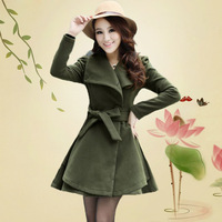 2013 skirt slim overcoat medium-long large lapel woolen outerwear