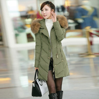 2013 winter gentlewomen hooded fur collar zipper medium-long belt women's 022092810 down coat