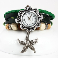 2013 New HOT lady Starfish sea star Genuine Cow Leather Vintage Watch bracelet Wristwatches