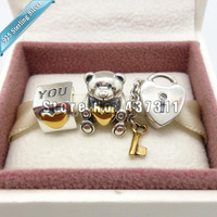 925 Sterling Silver Bear My Heart Charm beads Jewelry Set with Charm Box Fit European Bracelet Gift Set
