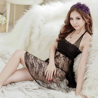 Sexy transparent lace skimpily usuginu tight short skirt sleep set  Free shipping