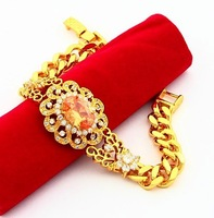 24K Gold Bracelets 8mm charm chain 24k rose gold plated Red crystal bracelets and bangles Sale items bracelets for women