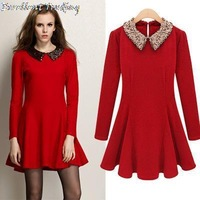 Free Shipping! 2013 new Europe and the United States women's spring socialite sequined doll waist long-sleeved dress 1680