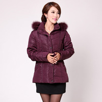 2013 quinquagenarian winter down coat women plus size fur collar down coat women's thick down coat