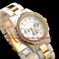 Free Shipping Luxurious Japan movement brand quartz watch women men fashion rhinestone dress wrist watch 4 colors