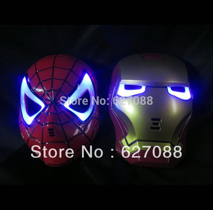 Máscaras LED Glowing Luz Homem de Ferro Homem Aranha herói Protecção Facial PVC Masquerade Party Halloween aniversário criativo(China (Mainland))