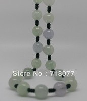 Free shipping! New Natural Light green jade necklace woman 10mm Round bead Necklace Length 19.50""