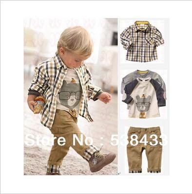 Free Shipping! new spring baby clothes set cool boy 3 pcs suits t-shirt+shirt+pants children garment Retail(China (Mainland))