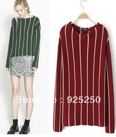 jacquard sweater woman autumn winter fashion 2013 vintage european style knitted red striped print long sleeve pullover
