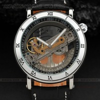 New Men Silver Roman numerals Case Complete Transparent Dial Diamond Inlaid Fan-shaped Flywheel Automatic Mechanical Watch U398