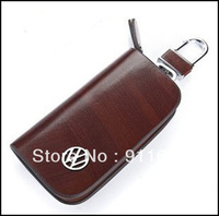 Car Keychain Car key Rings For VW Genuine Leather Car Keychain Brown 8.2cm X 4.5cm Leather Buckle as Gift