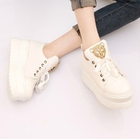 2013 autumn candy color high platform wedges platform casual shoes single shoes canvas shoes female shoes