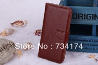 2013 New Arrival phone cover for Iphone 5 5S case crazy horse leather luxury business stand wallet with 2 card holder Waterproof