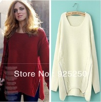 jacquard sweater woman autumn winter fashion 2013 vintage european style knitted solid  red white loose long sleeve pullover