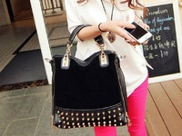2013 new rivet package stitching flannel bag shoulder bag brand fashion Rivet Studded Messenger Bag H019