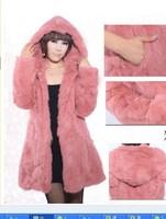 long design hat rabbit fur coat fur overcoat long-sleeve trench  women natural fur coat