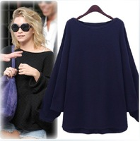 Free Shipping High Street women fashion Wool blend big o-neck loose pullover sweater large batwing basic shirt female tops
