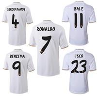 Free shipping 2013-2014 Best thailand quality Real Madrid Jersey Home #7 Ronaldo Isco Ozil kaka Di maria Modric Soccer jersey