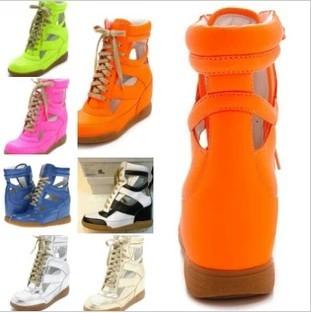 frete grátis novo design sandálias para mulheres laço sapatos cunhas, sapatos de couro, casual tênis sapatos(China (Mainland))