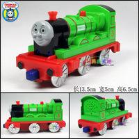 1set 13/5x5x6.5cm Cute Toys Trains Mini Green Color Thomas henry 3 acoustooptical magnetic alloy Train Model Free Ship