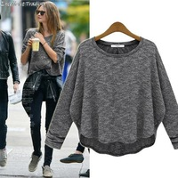 Free Shipping! 2013 autumn/winter fashion ladies knitted render big loose style sweatshirt gray base shirt 9316