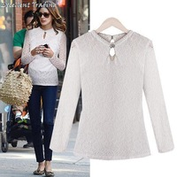 Free Shipping! 2013 autumn/winter fashion warm new women's new round collar joker long-sleeved bud silk shirt 2 color 4 size