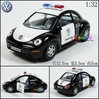 Soft world VW beetle police Auto Alloy Car Model 12x5.5x5cm Size Black+White 1;32 Police Car For Boys Electric Car Mini Car Toys