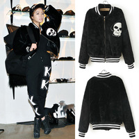 Newest Winter Korean Personalized Plush Velvet Skull Zipper Collar Baseball Jacket Coat Female Tide Tops