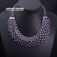 Hot sale!!! 2013 New arrival fashion luxury crystal stone choker collar statement necklace women costume jewelry, Free shipping