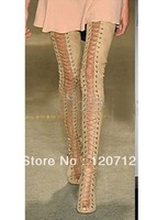 Presell suede thigh High lace up Gladiator Stiletto Heels Boots size 35-42 free shipping