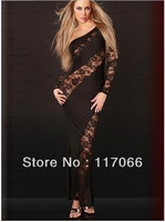 Hot saling black white one-shoulder Bandage dresses lace and stain elegant Celebrity Dresses sexy long evening dresses