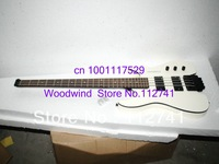 Wholesale -New Arrival White NO Head Electric Bass 4 Strings Electric Bass Guitar  High Quality Cheap