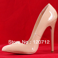 2013 fashion Genuine Leather red bottom pointed toe high heels Brand shoes for women Nude Black women's pumps FREE shipping