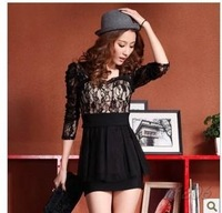 Black Dress Women Black Lace Dress High Street Rayon Fabric Shot Fall 2013 Embroidered Lace Shorts Woman  Free Shipping