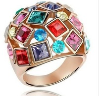 FREE SHIPPING 2013 Fashion Temperament Luxurious Colorful Crystal Ring Queen temperament Ring