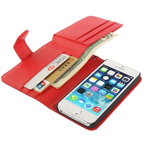 Для iPhone 5/iPhone 5S SE Бумажник Чехол многофункциональный Личи Текстуры Роскошный PU Кожаный Чехол с Кошелек талреп, красный iphone 5 ростест с гарантией купить