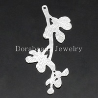 Copper Charm Pendants Leaf Branch Silver Plated 3.5x1.7cm-3.5x1.9cm,10PCs (K15394)