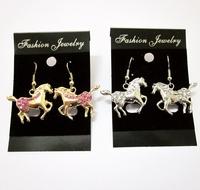 free shipping 6 pair/lot fashion women jewelry animal horse drop earrings