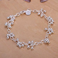 925 silver plated Grape shape Round Beads bracelet,fine jewelry woman girls link chain new hot sell,charms bracelet