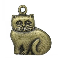 Charm Pendants Cat Animal Antique Bronze 19x16mm,50PCs (K10220)
