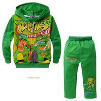 free shipping !Children coat Teenage Mutant Ninja Turtles cartoon spot FZ201308 front pocket cotton terry hooded Tong Set