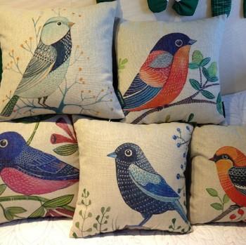 Ikea pastorale cinq sortes de couleur oiseau oreiller housse de coussin pour la maison bureau décor coussins du canapé 45 cm * 45 cm 5 pcs/lote oreillers